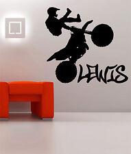 large Kids Personalised Any Name Motorbike Motocross Bedroom Wall Art Sticker