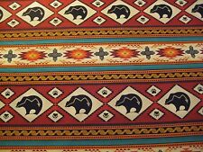 1/4 Yard Red Turquoise Red Orange Bear Aztec Western Fabric Quilting 100% Cotton