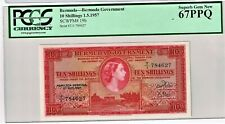 Bermuda: 10 Shillings 1.5.1957 Pick 19b PCGS Superb Gem New 67PPQ.
