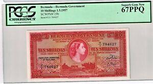 Bermuda: 10 Shillings 1.5.1957 Pick 19b PCGS Superb Gem New 67PPQ