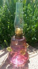 Victorian Cranberry & Vaseline Miniature Oil Lamp 4 Applied Vaseline Raspberries