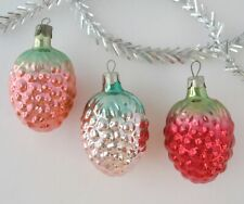 Set 3 Berry Vintage Xmas Decor Christmas Russian Glass Red Green Ornament Ussr