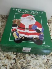 Fitz & Floyd Plate Happy Holiday Santa Canape Christmas Cookie Serving Plate