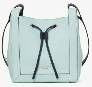 Kate Spade Grab Small Bucket Bag Blue Glow Leather PXR00420 NWT $298 Shoulder FS