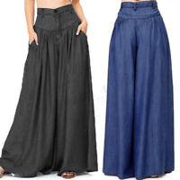 UK 8-24 Women Plus Wide Leg Casual Loose High Waist Baggy Plain Trousers Pants