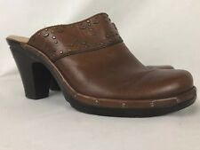 Sofft Clogs Mules Brown Leather Studded High Heel Slip On Womens 8.5