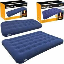 INFLATABLE DOUBLE SINGLE FLOCKED AIR BED CAMPING LUXURY RELAXING AIRBED MATTRESS