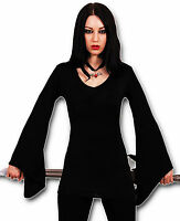 BLACK MEDIEVAL LONG TOP BLOUSE S M L XL XXL 10 12 14 16 18 20 22 plus size GOTH!