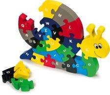 Steckpuzzle ABC Schnecke, Holzpuzzle, Lernpuzzle, 26 Teile