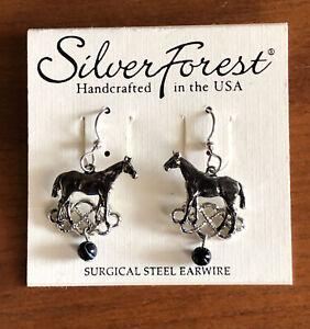 Silver Forest Horse Pierced Earrings Black & Silver Tone Bellows Falls VT