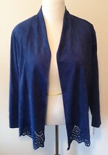 Alfred Dunner Womens Size 16 Jacket Open Front Blue Stretch Suede LOOK