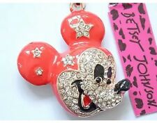 Betsey Johnson Necklace Red Mickey Mouse Head Crystals Adorable