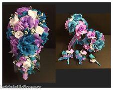 17 piece package Wedding Bridal Bouquet Silk Flower LAVENDER TURQUOISE