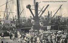 POSTCARD  MILITARY  INDIA   BOMBAY  Troopship  leaving  Harbour