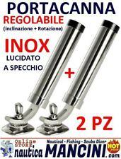 2 PORTACANNA IN ACCIAIO INOX 316 SNODATO CANNA REGOLABILE 40mm PER PESCA BARCA