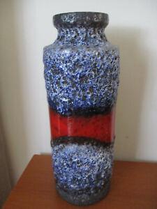 Vintage West German  Pottery Fat Lava Blue/Red Volcanic Vase 2 of 3
