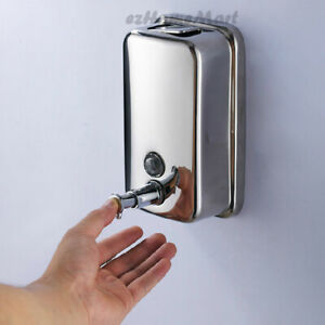 Stainless Steel Bath Liquid Soap Shampoo Shower Gel Wall Mounted Pump Dispenser