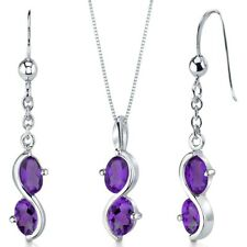 2.25 CT Oval Purple Amethyst Sterling Silver Earring and Pendant Set