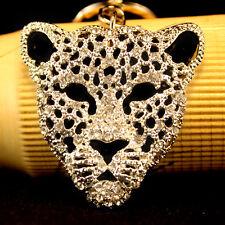 SILVER Jaguar Leopard Head Keychain Crystal Charm Cute Animal Gift Present 01065
