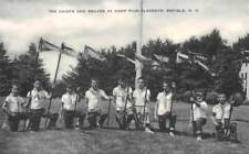 ENFIELD, NH, CAMP PIUS XI, BOYS WITH INDIAN FLAGS PC + ORIG NEGATIVE c 1940-50's