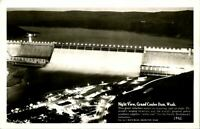 Grand Coulee Dam WA Columbia River Night View RPPC Postcard unused (19051)