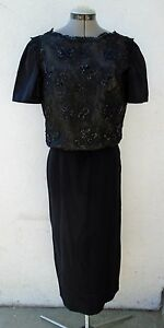 Vintage 1950s Cocktail Dress MR. FRANK New York Sequin Black Nude