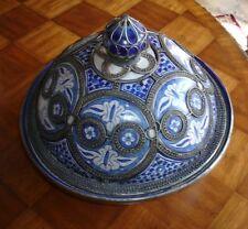 Antique Rare Moroccan  Domed Bowl  w/Fine Filigree Nickel Silver Work