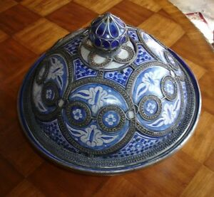 Antique Moroccan Ceramic Domed Bowl w/Silver Nickel Filigree  EXTREMELY RARE