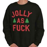 Jolly As F**k Christmas Holiday Xmas Gift Adult Long Sleeve Crew Sweatshirt