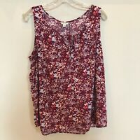 SONOMA Life + Style Red Floral Sleeveless Blouse Size XXL VGUC