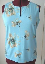South Lodge Top XL Sleeveless Pale Blue with beige flowers BNWT New