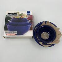 NEW Vintage Set of 3 Pyrex Cobalt Blue Glass Nesting Mixing Bowls 322 325 & 326