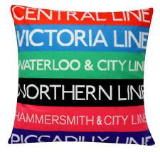 """London Underground Chenille de algodón de impresión digital de 16"""" X 16"""" cubiertas de cojines"""