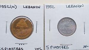 1952 u Lebanon 25 & 5 Piastres coin(s) uncirculated
