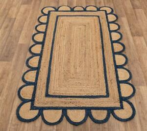 3x5 feet square scallop jute navy hand made rug bohemian decor Inspire jute rug