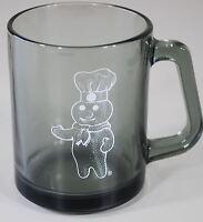 """Rare Pillsbury Doughboy Glass Mug - 3 3/4"""" Tall - Gray Smoked Glass"""