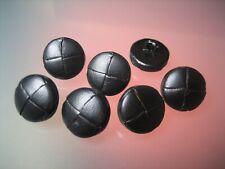 7x Lederknöpfe - Schwarz - Glattleder matt - 15mm