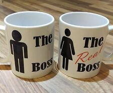 Valentines Day,Chstmas Love, The Boss & The Real Boss His & Hers Coffee Mug Set