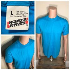 Screen Stars Blue T-Shirt, Thin 50/50 Blank Tee, Vintage 80s, Made in USA, Tagged XXL, Measures Like Men's L, Cotton & Polyester