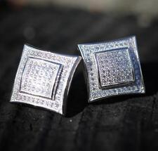 MEN 925 STERLING SILVER SQUARE LAB DIAMOND ICED SCREW BACK STUD EARRINGS