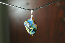 Beautiful Natural Translucent Deep Blue Amber .925 Sterling Silver Pendant 43mm