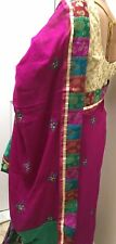 NEW DARK PINK GEORGETTE AND VELVET SAREE AND BLOUSE