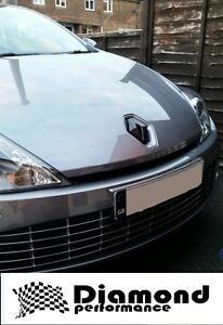 RENAULT LAGUNA 3,inc Coupe 2007+2012  GLOSS BLACK FRONT&REAR badge COVERS (PAIR)