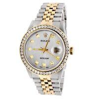 Rolex Datejust Two Tone 18k Gold 36MM Steel Jubilee 16013 Diamond Watch 3.5 Ct