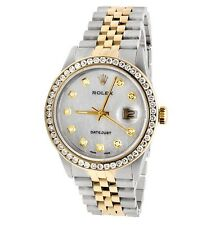Rolex Datejust Two Tone 18k Gold 36MM Steel Jubilee 16013 Diamond Watch 3.5 Ct