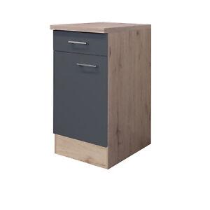 Küchen-Unterschrank TURIN - 1-türig - 40 cm breit - Basaltgrau Matt