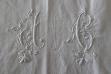 ANTIQUE FRENCH RUSTIC METIS Sheet/tissu/textile-MONOGRAM DC ou DG