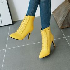 Women Stiletto Ankle Boots Pointed Toe Lace Up High Heels Boots Party Shoes Size