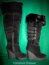 New NINE WEST 'Estrada' Uk 7 / Eur 40 Long Black Suede Fur Platform Wedge BOOTS