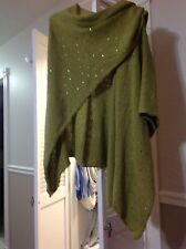 CHICO'S GREEN COTTON KNIT WRAP SHAWL Size:ONE SIZE